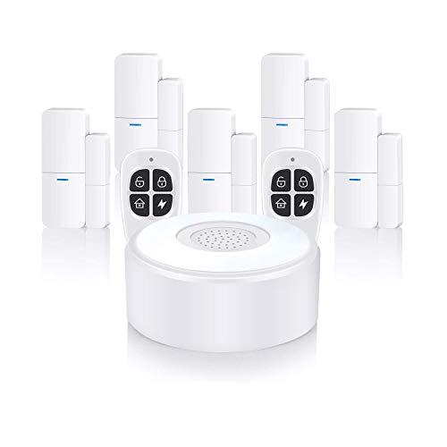 Sistema di sicurezza domestica wireless, impianto di allarme completo con 1 sirena, 5 sensori per porte e finestre e 2 telecomandi, tramite app