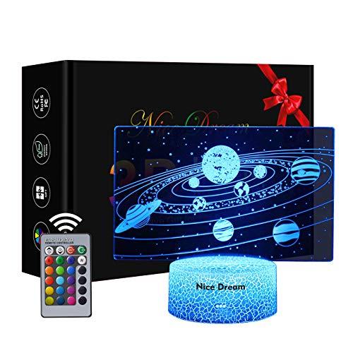 Sistema Solare Lampade Luce Notturna, Regalo Del Sistema Solare, Luce Di Notte 16 Colori Controllo Tattile Lampada Decorazione Da Comodino Con Cavo Usb