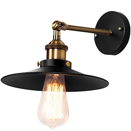 SISVIV Applique Vintage Industriale Lampada da Parete Retro Interno Lampada da Muro in Metallo Regolabile 180 ° per Cucina Ristorante Corridoio E27 Nero
