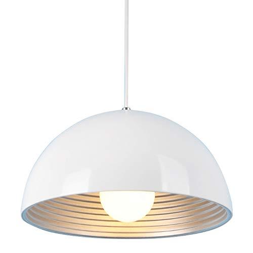 SISVIV Lampada a Sospensione Moderna Bianco Lampadario Vintage Industriale 30CM in Metallo per Cucina Sala da Pranzo Ristorante E27