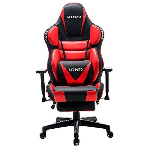 SITMOD Sedia Gaming Ergonomica Ufficio da Scrivania Poltrona Ergonomica Sedie da Gaming Girevole con Rotelle, Altezza Regolabile e Supporto Lombare(rosso)