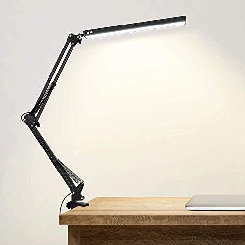 SKYLEO Lampada da scrivania a LED con morsetto, luce di lettura per la cura degli occhi dimmerabile, lampada a braccio oscillante a 3 modalità colore, lampada da scrivania con clip USB