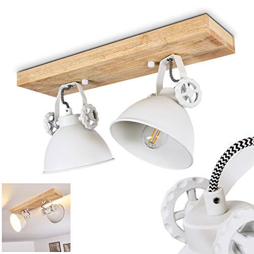 SLV Svanfolk - Plafoniera in metallo / legno bianco / naturale, 2 faretti regolabili, 2 x attacco E14, max 40 Watt, design retrò