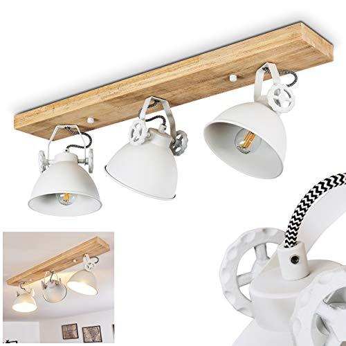 SLV Svanfolk - Plafoniera in metallo / legno bianco / naturale, 3 luci con faretti regolabili, 3 x attacco E14, max 40 Watt, design retrò