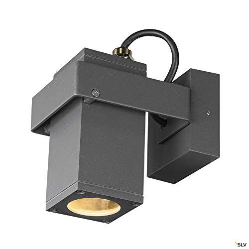 SLV THEO BRACKET CW - Lampada da parete e soffitto, per pareti, sentieri, ingressi, faretto LED esterno, lampada da incasso, lampada da giardino, faretto da soffitto, GU10 IP65, 7 W, colore: antracite