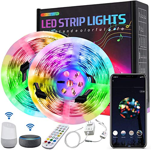 Smart Striscia LED Alexa 10m, Amouhom Striscia Luci Led RGB Compatibile con Alexa Echo e Google Home, Smart Strip Led con Telecomando per TV, Stanza da Letto, Feste e Decorazioni