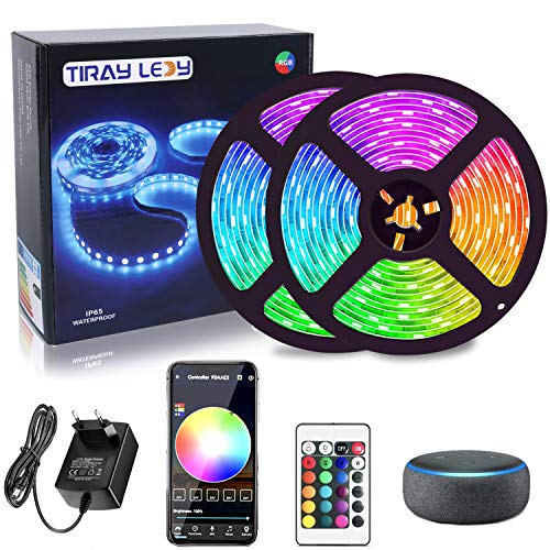 Smart Striscia LED Wifi, 10 m, Tiray Ledy WiFi RGB Intelligente, IP65, impermeabile, sincronizzazione con musica, per casa, cucina, TV,Bar, festa, compatibile con Alexa, Google Home per IOS e Android