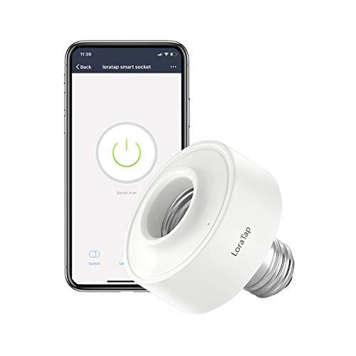 Smart WiFi Portalampada E27, LoraTap Wireless Adattatore per LED Lampadina Funziona con Echo Alexa e Google Home, Controllo Remoto Smartphone Tramite App Smart Life