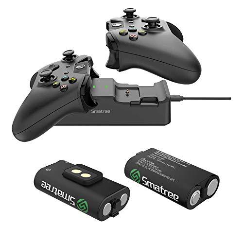 Smatree Caricabatterie Doppia stazione di ricarica con 2 batteria ricaricabile per Xbox One / Xbox One S / Xbox One X / Xbox One Elite Wireless Controller (Non per Xbox Series X / S)