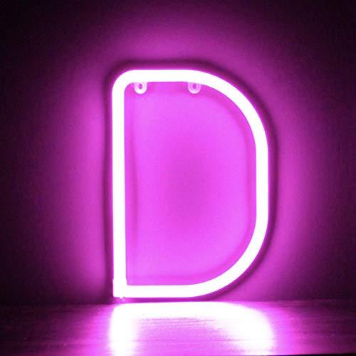 Smiling Faces Lettera Luce Rosa LED Neon - Parete Appeso Con Batteria - Lettera D