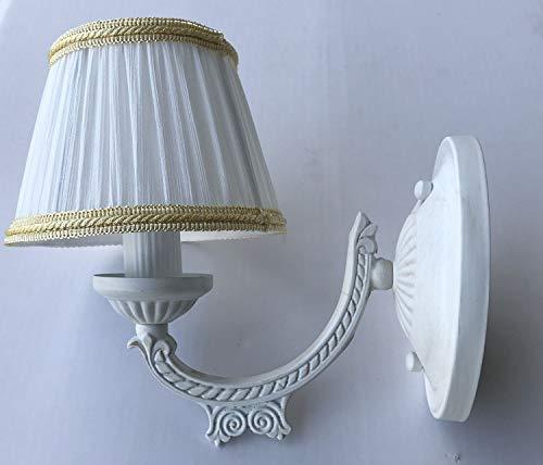 SOFIA - Lampada da parete in stile shabby bianco con paralume in tessuto, E14, classica, per soggiorno, camera da letto