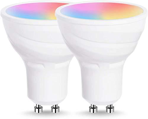 Softeam Smartronica Smart Lamp Spotlight, Lampadina a LED con attacco GU10, multicolore RGB + bianco, potenza 5W, funziona con Alexa e Google Home, 2 pezzi