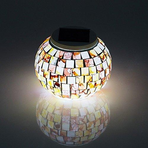 Solar Mosaic Glass Ball Lights, Eonsmn cambia colore LED Garden lampada da notte per camera da letto indoor outdoor party decorazioni Granite