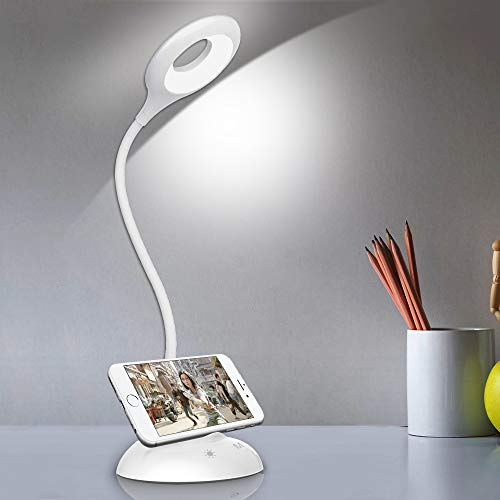 solawill Lampada da Scrivania LED, Lampada da Tavolo Touch Control con 5 Luminosità & 5 Modalità colore USB Ricaricabile 360° Rotante Lampada Lettura Protezione Degli Occhi per Lettura Studio Lavoro