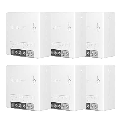 Sonoff Mini 6PCS Interruttore Fai-da-Te Smart Switch Piccolo Corpo Telecomando Interruttore WiFi Supporto Interruttore Esterno Funziona con Google Home/Nest IFTTT e Alexa