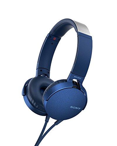 Sony MDR-XB550AP - Cuffie on-ear EXTRA BASS con microfono, Archetto regolabile, Blu