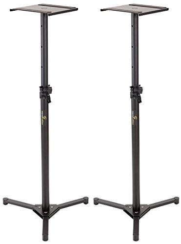 Soundsation SMON-100 coppia di supporti per studio monitor in acciaio, con basi richiudibili, altezze regolabili e piedini conici
