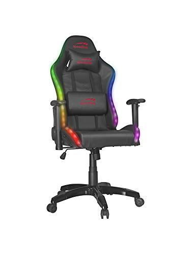 SPEEDLINK ZAPHYRE Sedia da gioco, 300 effetti RGB, cuscino lombare e collo, colore: nero, Pelle sintetica, 76 × 59-135 × 127-136cm