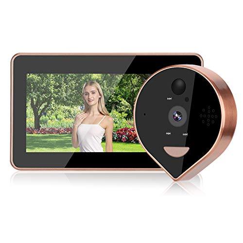 Spioncino intelligente, videocamera Wi-Fi da 4,3 pollici, campanello visivo, con rilevazione di movimento, videocamera per visione notturna con sensore di rilevamento del corpo umano PIR, supporto del