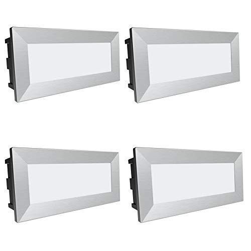 """SSC-LUXon®, lampada da parete a LED """"Piko-L"""", confezione da 4 pezzi, faretto da incasso a parete di grandi dimensioni, con protezione IP65, per esterni, 230 V / 3,5 W, colore luce: bianco caldo"""