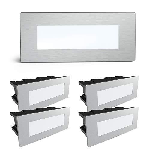 SSC-LUXon® - Set di 5 lampade da parete a LED Piko-S, per esterni, in acciaio inox spazzolato, con IP65, 230 V, 1,5 W, bianco neutro