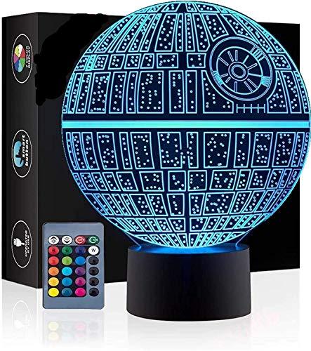 Star Wars Morte Nera Lampada da tavolo Led Illusione Ottica 3D 7 colori Lampeggiante USB Powered Touch Switch Camera da letto Lampade a led per bambini Regali stupefacenti Decorazione della casa