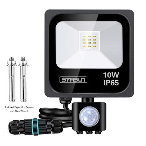 STASUN Faretto con Sensore di Movimento 10W, Faro LED Esterno, IP65 Impermeabile LED Esterno, Illuminazione Bianco Freddo 6000K 900LM, Lampada a Rsparmio Energetico a LED per Cortile
