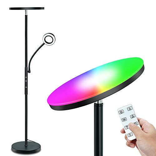 STASUN RGB Lampada da Terra, Dimmerabile,10 colori, Piantana con Telecomando & Controllo Touch, Luce Principale 20W con RGB e Luce Laterale 5W Lampada da Lettura Regolabile