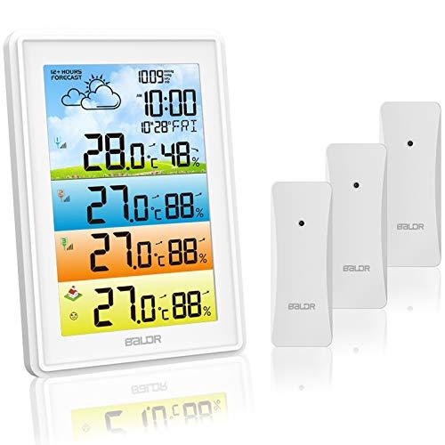 Stazione Meteo con 3 Sensore Esterno, Termometro Igrometro con Previsioni Meteo, Meteorologica Stazione Meteo a Colori DCF Digitale Interno con Schermo LCD a Colori, Monitor Temperatura Umidità