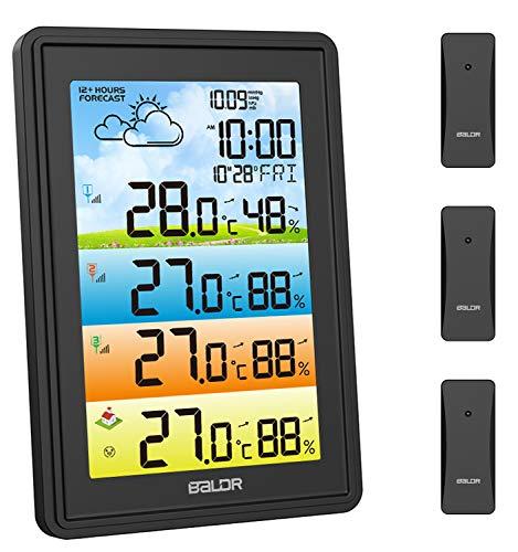 Stazione Meteo, Stazione Meteorologica Wireless con 3 Sensore Esterno, Termometro Igrometro Digitale Interno con Schermo LCD a Colori per Sveglia Tempo Data Temperatura umidità Previsioni di Tempo