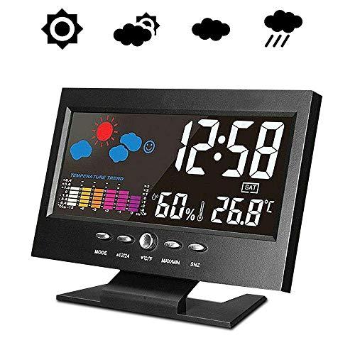 Stazione meteorologica con sensore wireless, igrometro digitale, con display di sensore LCD a calendario, monitor di umidità della temperatura domestica con sensore