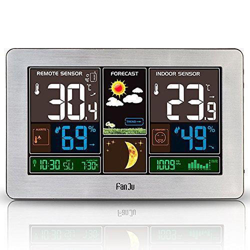 Stazione Meteorologica con Wireless Sensore, Orologio Termometro Ambiente Digitale Temperatura e umidità Interno Esterno con Schermo LCD, Sensore Igrometro,Orologio, Datario