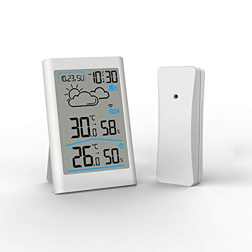 Stazione meteorologica wireless digitale Termometro esterno per interno con sensore esterno Monitor di temperatura e umidità Misuratore di umidità Sveglia con retroilluminazione snooze (Station météo)