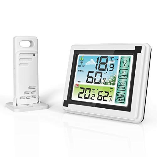 Stazioni meteorologiche wireless Termometro digitale Igrometro Misuratore di umidità per interni / esterni Monitor della temperatura con sensore esterno, previsioni del tempo con controllo tattile