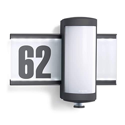 Steinel - Lampada da esterni L 625 con numero civico illuminato a LED da parete con sensore di movimento a 360°, in alluminio, 10 W, colore: Antracite [Classe energetica A++]