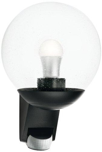 Steinel Lampada da parete L 585 nero - Luce da esterno E27 con sensore di movimento a 180°, 60 W, raggio max. 12 m, vetro soffiato [classe energetica A++]