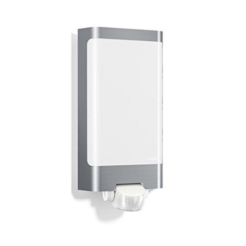 Steinel Lampada da parete per esterni L 240 LED in acciaio inox - Luce da muro con rilevatore di movimento a 180°, portata max. 10 m, 7,5 W, colore bianco caldo