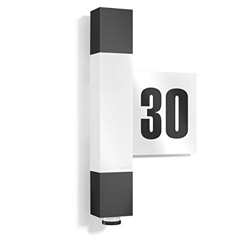Steinel Lampada LED per esterni L 630 antracite, con numero civico e sensore a 360°, portata 8 m, 663 lm, 8,2 W - 6,5 x 21,1 x 36,4 cm [Classe energetica A++]