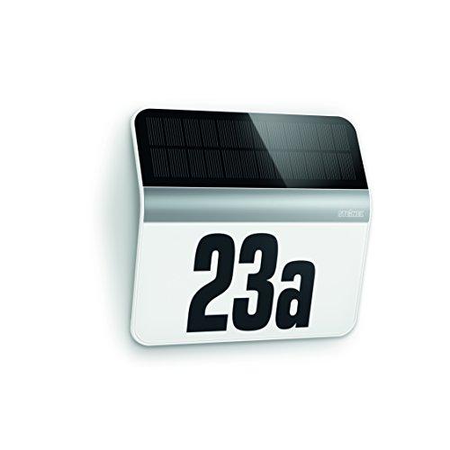 Steinel Lampada led solare XSolar LH-N in acciaio inox - Sensore crepuscolare per esterno, incluso numero civico illuminato - 22,7 x 24,2 x 5,1 cm - Classe A+