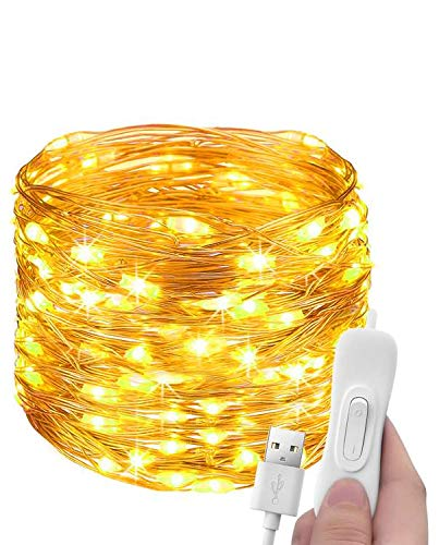 Stringa Luci LED USB, Litogo 12M 120LED Catena Luminosa Filo Rame Ghirlanda Luminosa Impermeabile Lucine LED Decorative per Camere Natale Interni e Esterni,Casa, Feste, Matrimonio, DIY (Bianco Caldo)