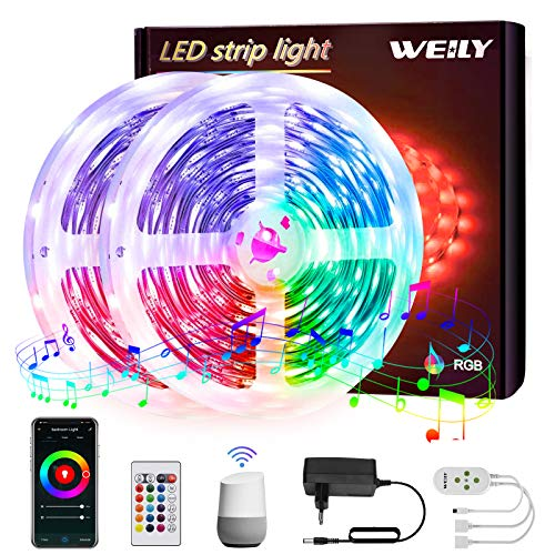 Strisce LED 10M WiFi , WEILY impermeabile sincronizzazione musicale Controllo APP intelligente Striscia LED RGB compatibile con Alexa, Google Home …