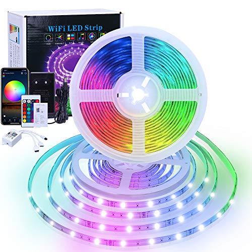 Striscia LED 10M RGB 5050 Musicale 12V, Wifi Strisce LED Kit con 24 Tasti Telecomando IR, Smart Luci Striscia Impermeabile 300 LEDs Multicolore per Decorazioni la Casa, Camera da letto, TV, Bar, Festa