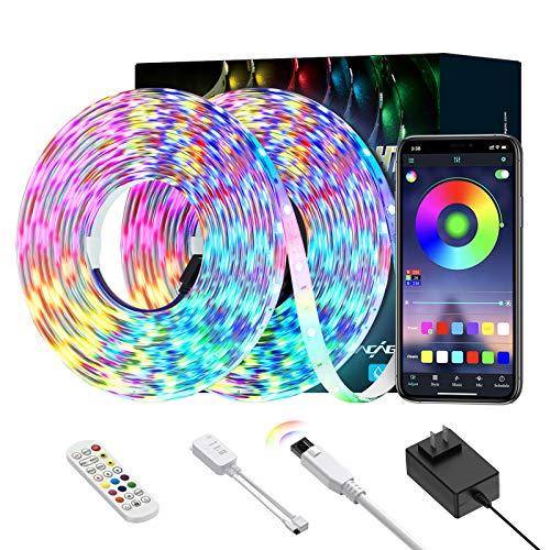 Striscia LED, 10M RGB 5050 Strisce LED, Ltteny 300 LEDs Retroilluminazione LED con la Musica 3 Modalità, 20 Colori IP65 Impermeabile Luci LED.