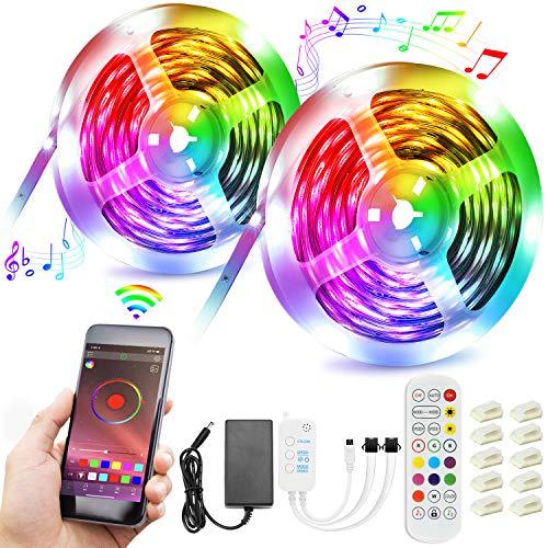 Striscia LED 15M, Striscia LED Musica RGB 5050 Smart Striscia LED con 20 Colori e 21 Modalità Controllo APP e Telecomando per Party, Bar, Decorazioni Natalizie [Classe di Efficienza Energetica A+++]