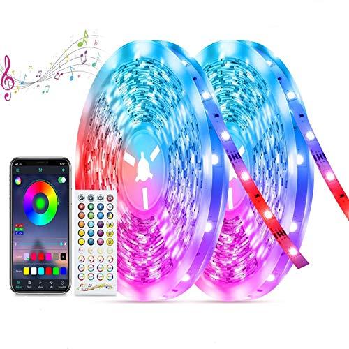 Striscia LED 20M, TASMOR 5050 RGB LED Striscia con Controller Bluetooth Sincronizzazione con la Musica, Luminosa LED colorati per Camera con 44 Tasti e APP Telecomando, Decorativa per Casa Cucina