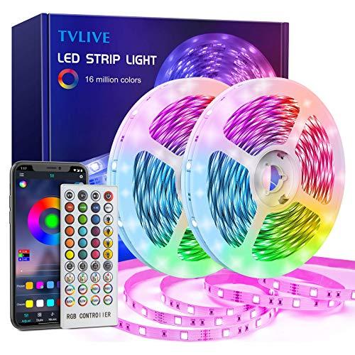Striscia LED 20M,TVLIVE Bluetooth Nastri LED RGB 5050 Musicale,Controllato da APP,Telecomando IR e Controller, 28 Modalità di Stile, Funzione Musicale, per Decorazioni,Bedroom,Cucina, Bar, Festa