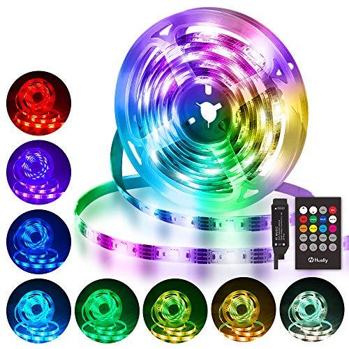 Striscia LED 3M, Hually 90 LEDs Strisce LED RGB 5050 con Telecomando RF,Sincronizza con la musica, 4 Modalità, Impermeabile USB alimentata LED Striscia per Decorazioni, Cucina, Festa, Natale, Bar ecc