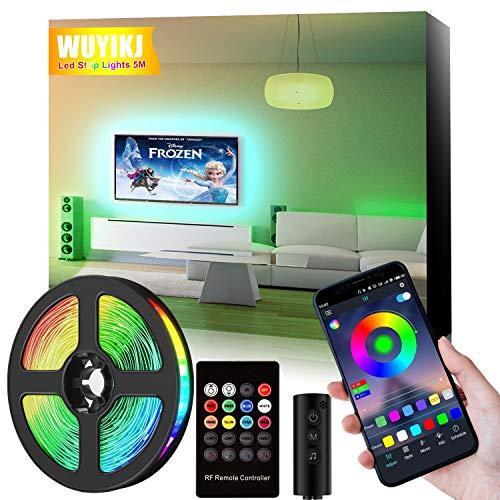 Striscia LED, 5 m (16,4 piedi) Striscia di illuminazione a cambiamento di colore RGB con telecomando e controllo app, con strisce di illuminazione a LED a 20 tasti telecomando RF.
