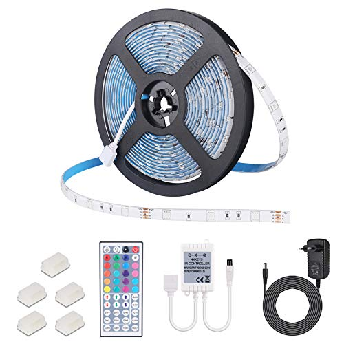 Striscia LED 5M, ALED LIGHT Impermeabile LED Strip 5 Metri RGB 150 LEDs 5050 SMD Nastri Led Con DC 12V Alimentatore+ 44 Tasti Telecomando+ Ricevitore+ Istruzioni