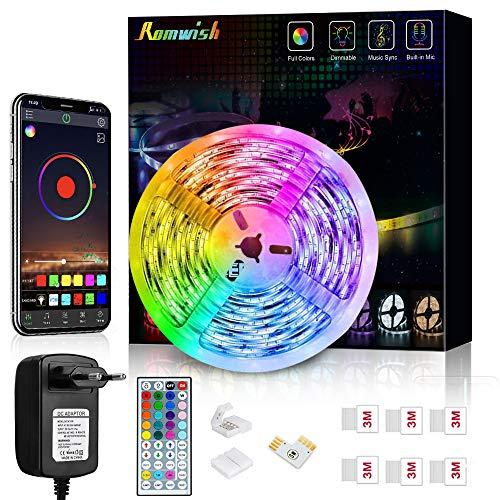 Striscia LED 5M, Romwish Luci LED Colorate RGB SMD 5050 Bluetooth Musica Sync LED Strip Controllo App e 44 Tasti Telecomando per Casa, Cucina, Festa, TV, Decorazione